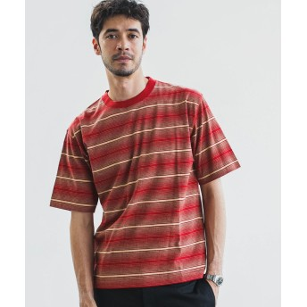 【30%OFF】 グリーンレーベルリラクシング SC マルチランダムボーダー クルー SS Tシャツ メンズ RED M 【green label relaxing】 【セール開催中】