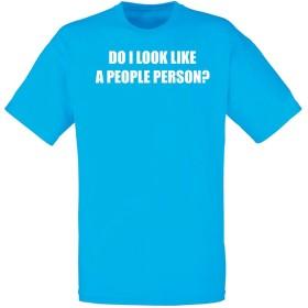 (人間っぽい人に見えますか?) Do I Look Like A People Person, メンズ プリント Tシャツ - ブルー/白 2XL = 119-124cm