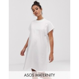 エイソス レディース ワンピース トップス ASOS DESIGN Maternity grown on sleeve t-shirt dress White