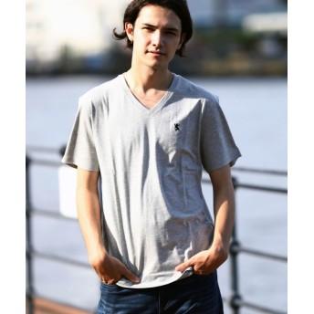 【36%OFF】 ジョルダーノ [GIORDANO]ライオン刺繍VネックTEE メンズ グレー XL 【GIORDANO】 【タイムセール開催中】