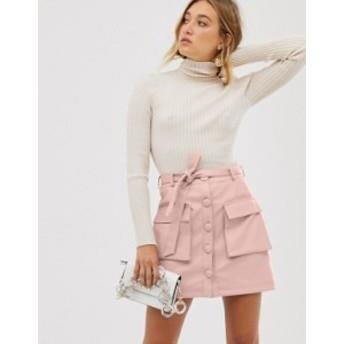 エイソス レディース スカート ボトムス ASOS DESIGN button front mini skirt with utility pockets Pink
