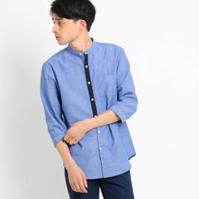 THE SHOP TK(Men)(ザ ショップ ティーケー:メンズ)/綿麻バンドカラーシャツ