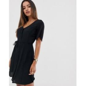 マンゴ Mango レディース ワンピース ワンピース・ドレス button front dress in black Black
