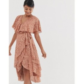エイソス ASOS DESIGN レディース ワンピース ワンピース・ドレス midi dress with cape back and dip hem in scatter sequin Copper