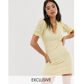 リクレイム ヴィンテージ Reclaimed Vintage レディース ワンピース ワンピース・ドレス inspired dress in lace with ruffle front Yell