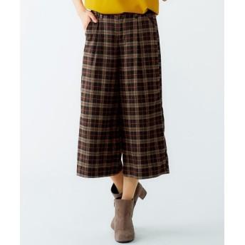 チェック柄ガウチョパンツ(ゆったりヒップ) (大きいサイズレディース)パンツ, plus size pants, 子, 子