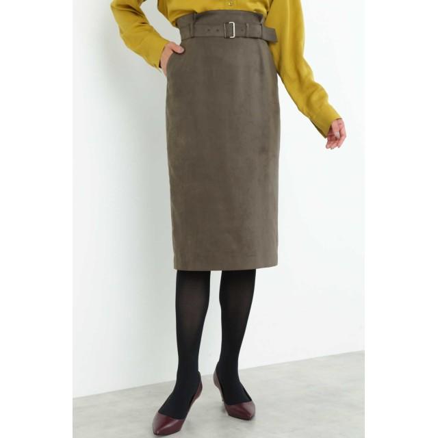 BOSCH フェイクスエードタイトスカート ひざ丈スカート,カーキ