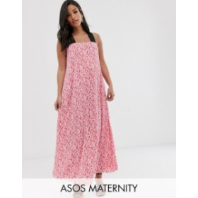 エイソス レディース ワンピース トップス ASOS DESIGN Maternity ditsy floral plisse maxi dress Pink