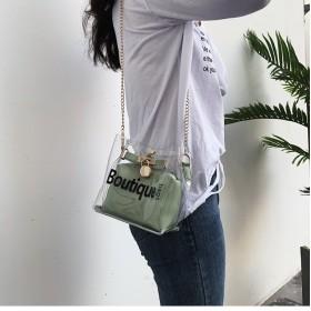 チェーンバッグ 透明ゼリーバッグ PVCクリア ショルダーバッグ 通学通勤 旅行デート 韓国ファッション 英語 インナーバッグ カバンKY-209