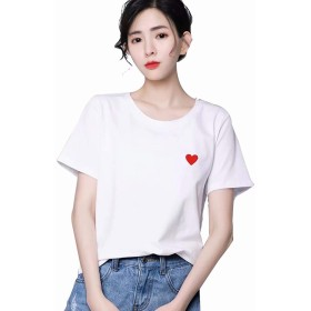 PONU レディース 半袖 Tシャツ シンプル カットソー ゆったり Uネック 無地 オーバーサイズ おしゃれ トップス(ホワイト)XL