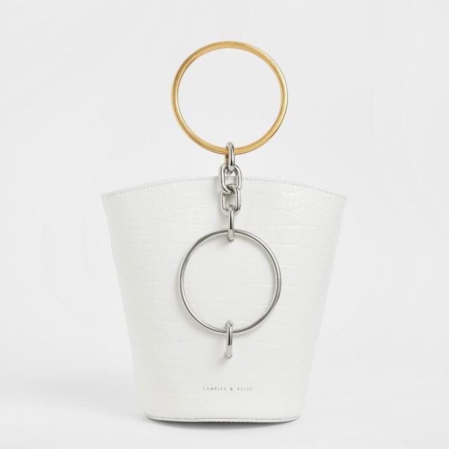 【2019 FALL】メタルリング ハンドルバケツバック/ Metal Ring Handle Bucket Bag (White)