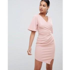 エイソス ASOS DESIGN レディース ワンピース ワンピース・ドレス wrap mini dress with mesh back Nude