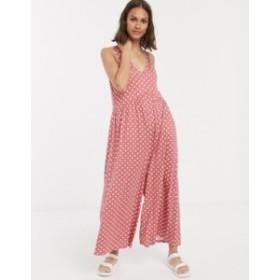 エイソス レディース ワンピース トップス ASOS DESIGN curved smock jumpsuit in polka dot  Rose spot