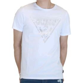 GUESS (ゲス) メンズ ショート スリーブ Tシャツ トライアングル レイヤー プリントM91391K3MZJ 半袖 シャツ ブラック・ホワイト (L, ホワイト)