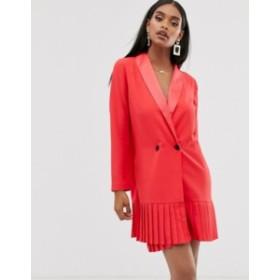 エイソス レディース ワンピース トップス ASOS DESIGN pleat hem tux mini dress Red