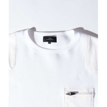 アバハウス スーパーストレッチベアワッフル ロングTシャツ メンズ ホワイト 46 【ABAHOUSE】