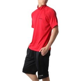 [ケイパ] ランニングウェア 上下セット ドライ ハーフジップ Tシャツ ジャージ ボトム ショートパンツ メンズ レッド 3L