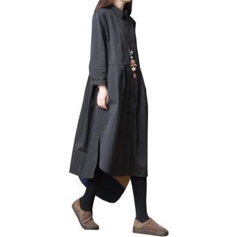 [リングルー] シャツワンピース レディース ロングシャツ ゆったり シャツスカート 長袖 大きいサイズ ワンピース 膝丈 長袖 サイドスリット レディース ブラウス ワンピース 薄手 快適 オフィス シャツ ブラック M