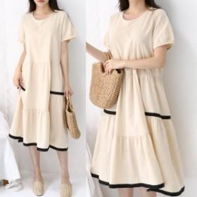 ロングワンピース ゆるワンピ バイカラー 配色 カジュアル 韓国ファッション 韓国ワンピース