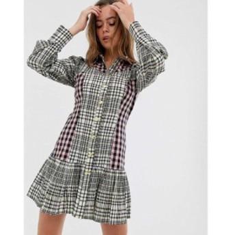 エイソス ASOS DESIGN レディース ワンピース ワンピース・ドレス mixed check mini shirt dress with pephem Check
