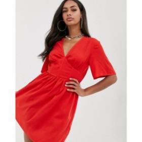 プリティリトルシング PrettyLittleThing レディース ワンピース ワンピース・ドレス tea dress with angel sleeve in red Red