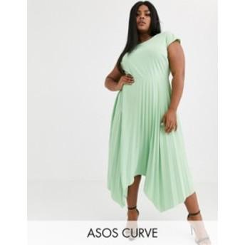 エイソス レディース ワンピース トップス ASOS DESIGN Curve v back midi dress with pleated asymmetric skirt Mint