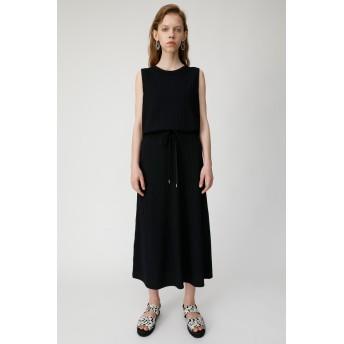 マウジー moussy CUT RIB FLARE DRESS (ブラック)
