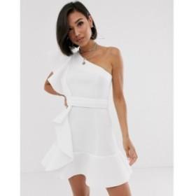 エイソス ASOS DESIGN レディース ワンピース ワンピース・ドレス one shoulder ruffle mini dress with pep hem Ivory
