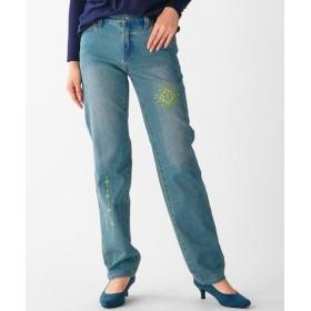 綿100%エスニック刺しゅう入りデザインデニムパンツ(ゆったりヒップ) (大きいサイズレディース)パンツ,plus size