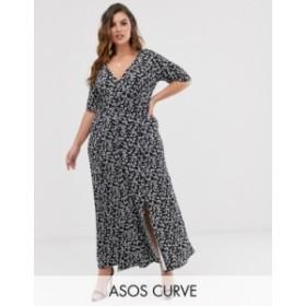 エイソス レディース ワンピース トップス ASOS DESIGN Curve button through maxi tea dress with splits in ditsy print Mono ditsy