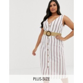 リバーアイランド レディース ワンピース トップス River Island Plus linen shirt dress in white stripe Linen stripe
