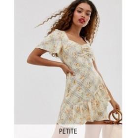 ミス セルフリッジ Miss Selfridge Petite レディース ワンピース ワンピース・ドレス ruffle tea dress in floral print Cream