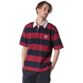 (ベンデイビス) BEN DAVIS 胸ロゴ ボーダー 半袖 ラガーシャツ レッド/LL