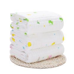 澎澎紗六層紗布抱被蓋毯 嬰兒多功能水洗印花紗布浴巾 105*105CM