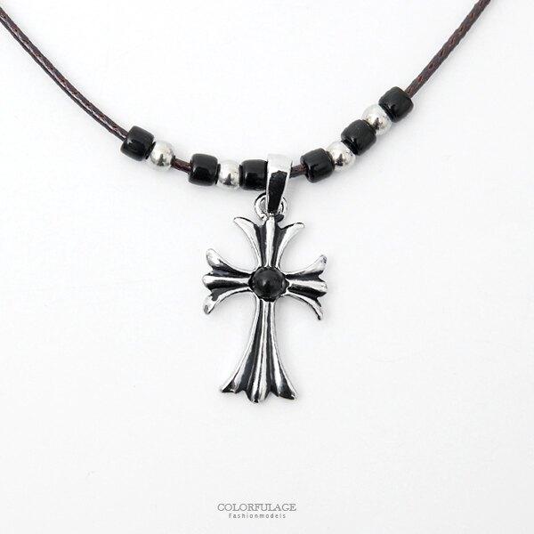 項鍊 十字架黑銀珠+立體花皮繩項鍊 韓國帶回【NB867】