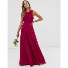 エイソス レディース ワンピース トップス ASOS DESIGN Bridesmaid maxi dress with soft pleated bodice Winter berry