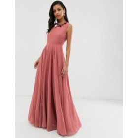 エイソス レディース ワンピース トップス ASOS DESIGN maxi dress with 3D embellished neckline Rose pink