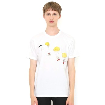 (グラニフ) graniph コラボレーション Tシャツ パラシュート (ぞうのババール) (ホワイト) メンズ レディース M (g100) (g107) #おそろいコーデ (g100) (g107)