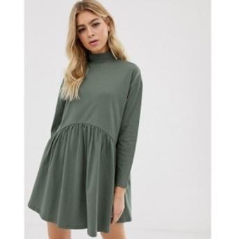 エイソス ASOS DESIGN レディース ワンピース ワンピース・ドレス high neck curve seam smock dress Khaki
