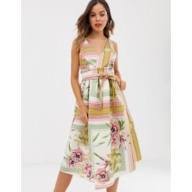 エイソス レディース ワンピース トップス ASOS DESIGN floral check prom midi dress Multi