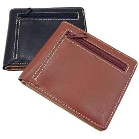 メンズ牛革二つ折り財布(コイン収納L字ファスナータイプ) 本革 ラウンド