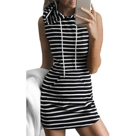 maweisong ノースリーブフードドレス、女性のセクシーフーディーミニTシャツカジュアルドレス 1 S