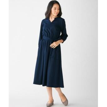7分袖マオカラーウエストリボン付ワンピース (大きいサイズレディース)ワンピース, plus size dress