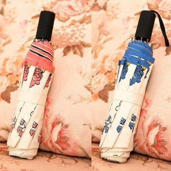 手書き風花柄日傘 晴雨兼用 軽量 UVカット 折りたたみ傘 100% 遮光 遮熱 完全遮光 折り畳み 傘 レディース 遮熱効果 UVカット 紫外線対策 花柄-P724