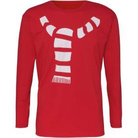 (クリスマスショップ) Christmas Shop メンズ マフラープリント 長袖 クリスマスTシャツ カットソー (2XL) (レッド)