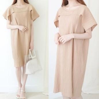 無地ワンピース 膝丈 大人カジュアル ナチュラル Iライン デート 韓国ファッション 韓国ワンピース