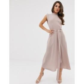 エイソス レディース ワンピース トップス ASOS DESIGN split cap sleeve high neck midi dress with skater skirt Neutral