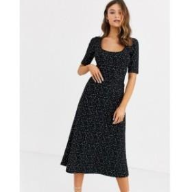 ウェアハウス Warehouse レディース ワンピース ワンピース・ドレス midi dress with belt in polka dot Black