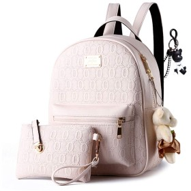 DOODOO レディース リュック ミニ バックパック PUレザー ポシェット Mini Rucksack Bag for Women ベージュ [並行輸入品]