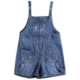 Cozy Maker(C&M)サロペット パンツ レディース オールインワン オーバーオール デニムパンツ ポケット付き 調整可 ショート丈 無地 (S, ブルー)